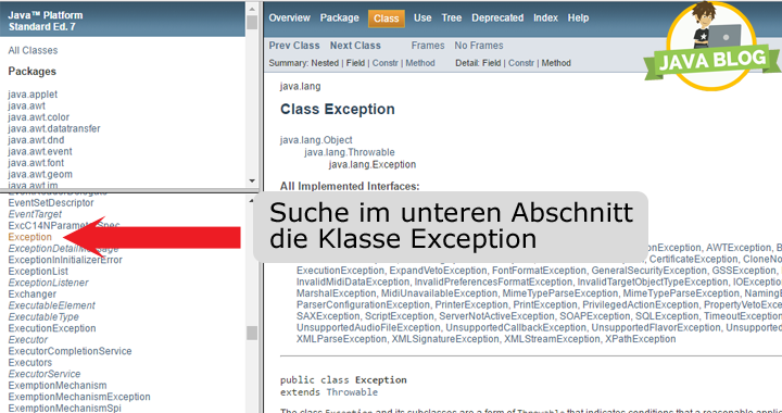 Java Exception Klasse