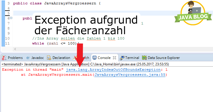 Java Arrays vergrößern Exception